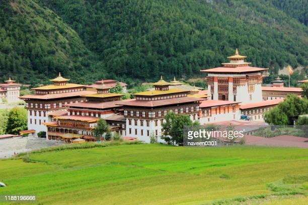 bhutan - tashichho dzong is in thimphu, bhutan - paro stock pictures, royalty-free photos & images