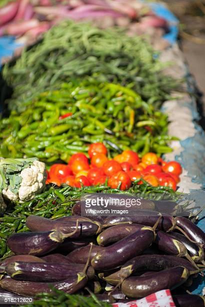 Bhutan, Thimphu. Vegetables for sale at weekend outdoor market.