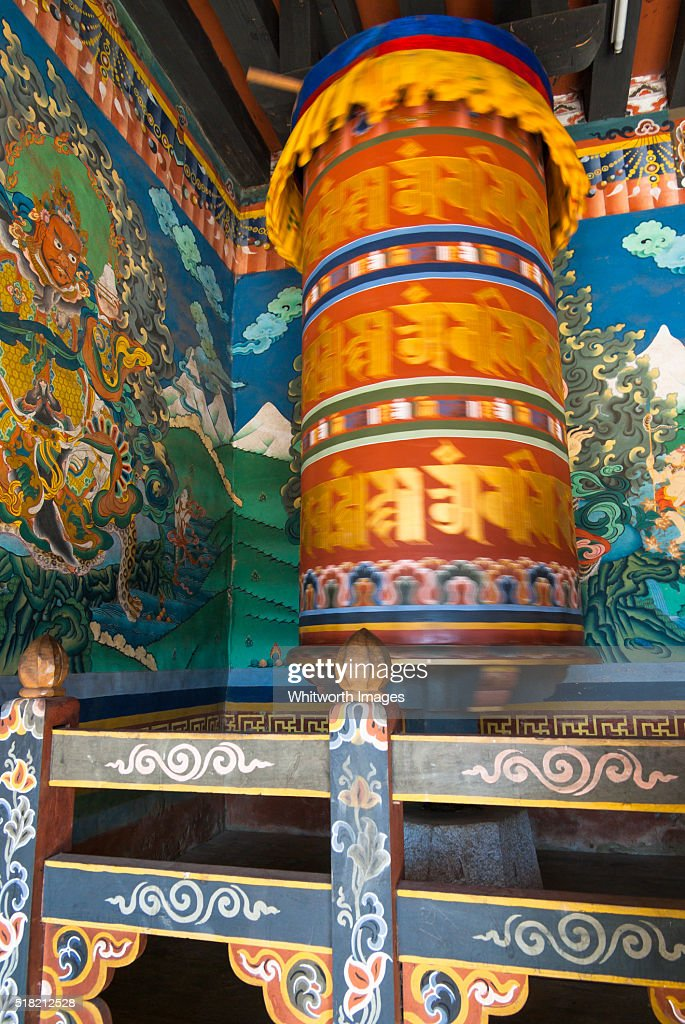 Bhutan Trongsa Large Colourful Buddhist Prayer Wheel And