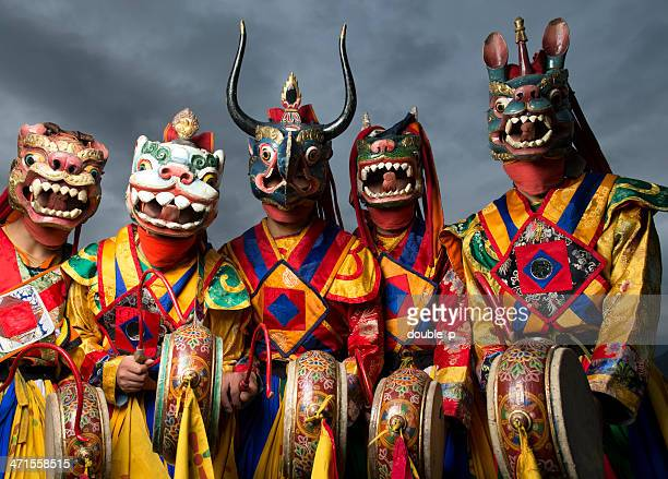 bhutanese dance group - thimphu stock pictures, royalty-free photos & images