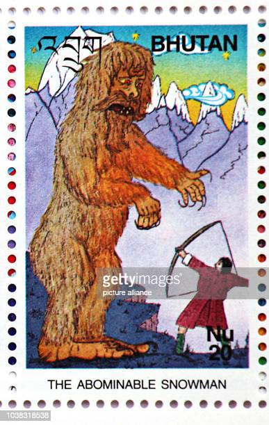 A Bhutanese stamp with a drawing of the Yeti in New Dehli India 30 January 2014 Many people in Bhutan including the royal family believe in the...