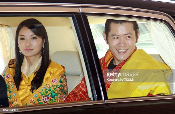 Bhutan's King Jigme Khesar Namgyel Wangchuck and Queen Jetsun Pema are seen during the welcoming ceremony at the Imperial Palace on November 16 2011...