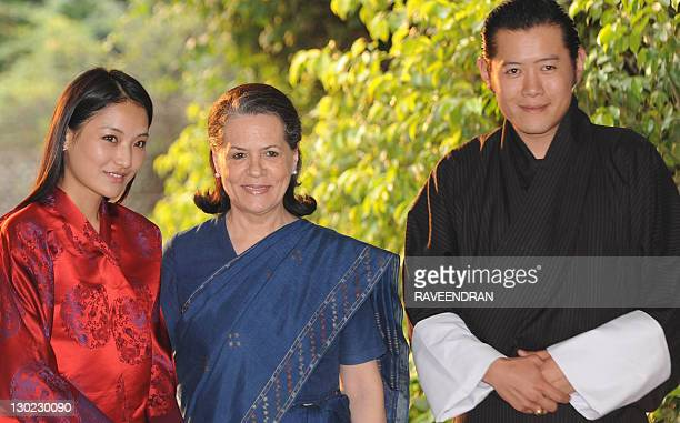 Bhutan's Queen Jetsun Pema Chairperson of Congressled UPA government and Congress Party President Sonia Gandhi and Bhutan's King Jigme Khesar Namgyel...