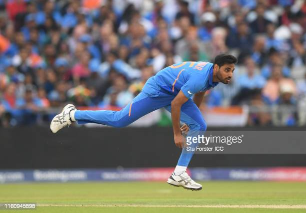 Bhuveneshwar Kumar of India bowls during the Semi-Final match of the ICC Cricket World Cup 2019 between India and New Zealand at Old Trafford on July...