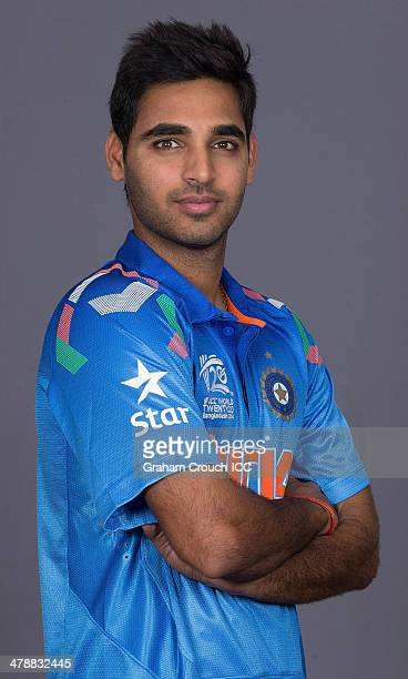 Bhuvneshwar Kumar of India at the headshot session at the Pan Pacific Hotel Dhaka in the lead up to the ICC World Twenty20 Bangladesh 2014 on March...