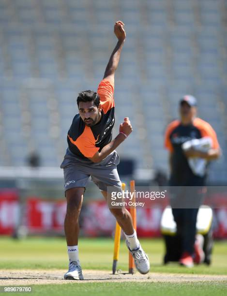 Bhuvneshwar Kumar of India bowls during a net session at Emirates Old Trafford on July 2, 2018 in Manchester, England.