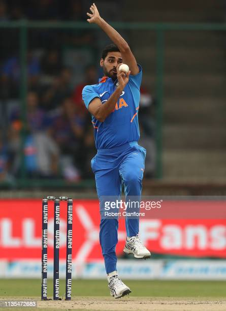 Bhuvneshwar Kumar of India bowls during game five of the One Day International series between India and Australia at Feroz Shah Kotla Ground on March...