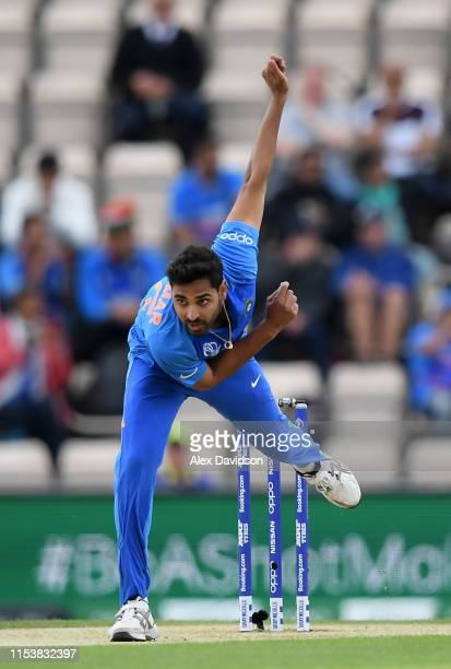 Bhuvneshwar Kumar of India bowls during the Group Stage match of the ICC Cricket World Cup 2019 between South Africa and India at The Hampshire Bowl...