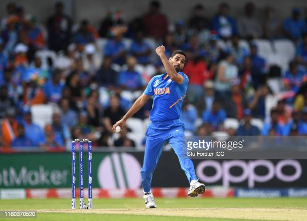 Bhuvneshwar Kumar of India bowls during the Group Stage match of the ICC Cricket World Cup 2019 between Sri Lanka and India at Headingley on July 06,...