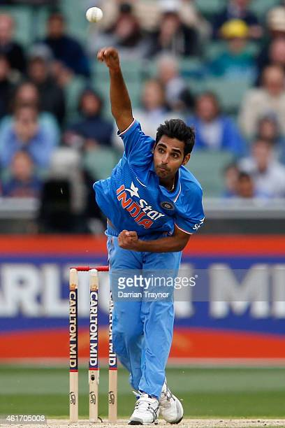 Bhuvneshwar Kumar of India bowls during the One Day International match between Australia and India at Melbourne Cricket Ground on January 18 2015 in...