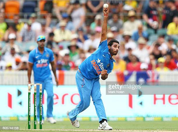 Bhuvneshwar Kumar of India bowls during the Victoria Bitter One Day International match between Australia and India at Manuka Oval on January 20 2016...