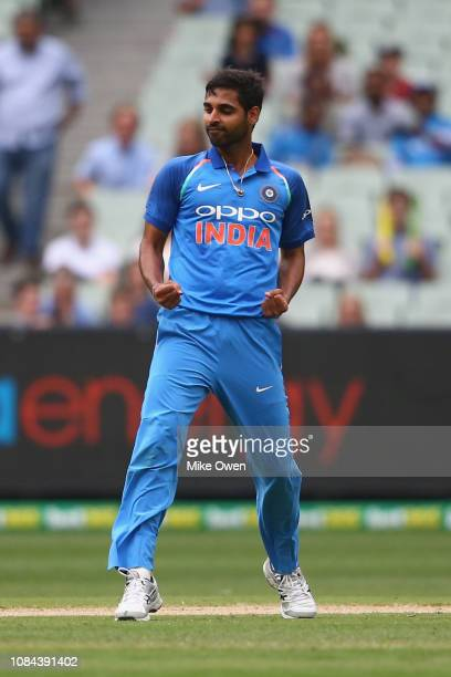 Bhuvneshwar Kumar of India celebrates after claiming the wicked of Aaron Finch of Australia during game three of the One Day International series...