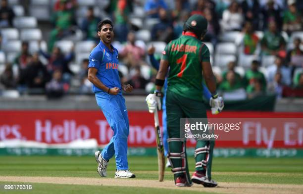 Bhuvneshwar Kumar of India celebrates dismissing Sabbir Rahman of Bangladesh during the ICC Champions Trophy Semi Final between Bangladesh and India...