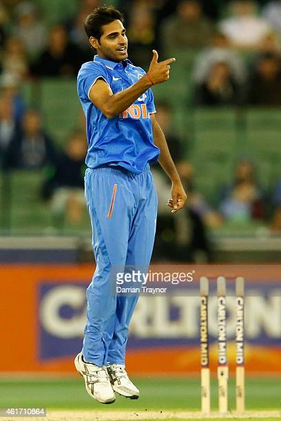 Bhuvneshwar Kumar of India celebrates taking the wicket of Glenn Maxwell of Australia during the One Day International match between Australia and...