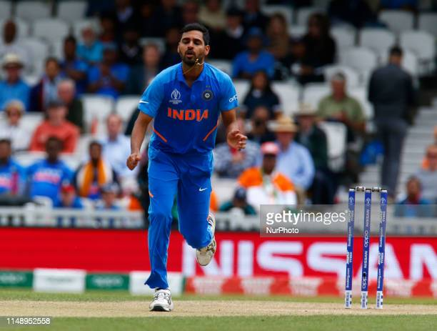 Bhuvneshwar Kumar of India during ICC Cricket World Cup between India and Australia at the Oval Stadium on 09 June 2019 in London, England.