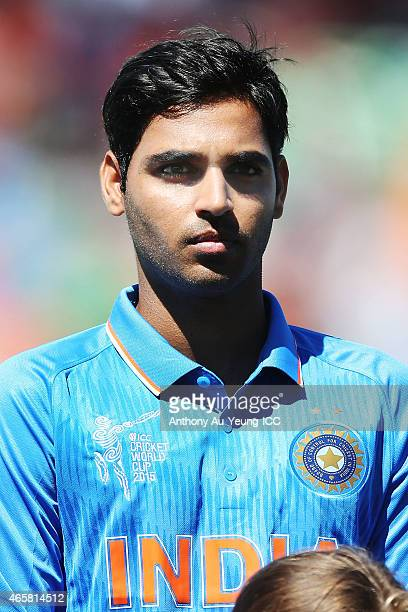 Bhuvneshwar Kumar of India during the 2015 ICC Cricket World Cup match between Ireland and India at Seddon Park on March 10 2015 in Hamilton New...