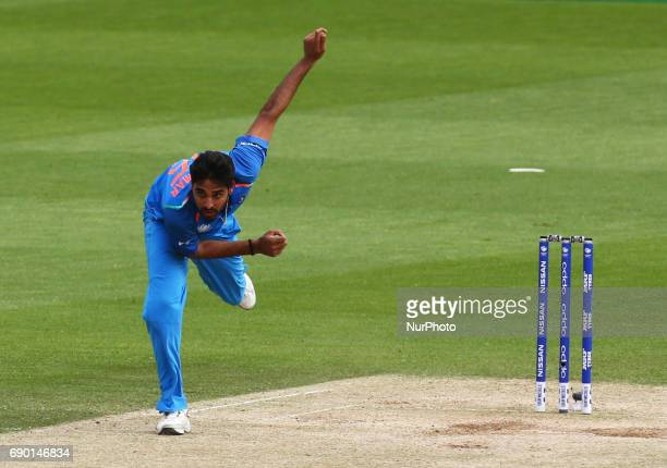Bhuvneshwar Kumar of India during the ICC Champions Trophy Warmup match between India and Bangladesh at The Oval in London on May 30 2017