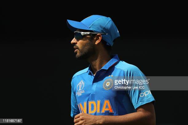 Bhuvneshwar Kumar of India during the ICC Cricket World Cup 2019 Warm Up match between India and New Zealand at The Kia Oval on May 25, 2019 in...