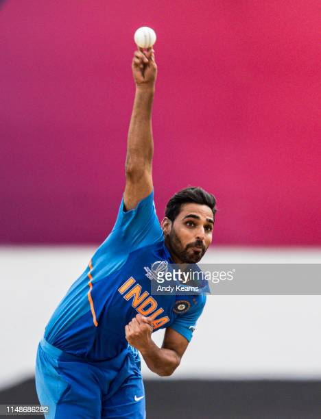 Bhuvneshwar Kumar of India in delivery stride during the Group Stage match of the ICC Cricket World Cup 2019 between India and Australia at The Oval...