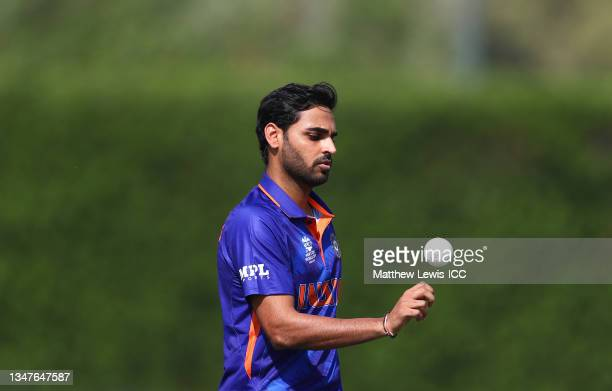Bhuvneshwar Kumar of India looks on during the India and Australia warm Up Match prior to the ICC Men's T20 World Cup at on October 20, 2021 in...