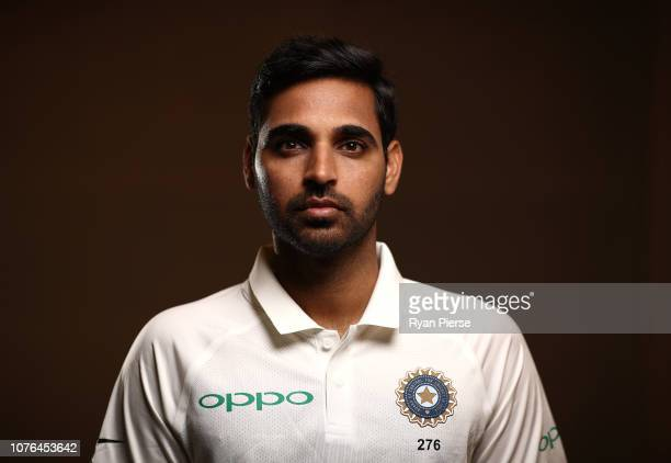 Bhuvneshwar Kumar of India poses during the India Test squad portrait session on December 03, 2018 in Adelaide, Australia.