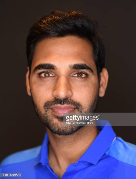 Bhuvneshwar Kumar of India poses for a portrait prior to the ICC Cricket World Cup 2019 at the Plaza Hotel on May 24, 2019 in London, England.