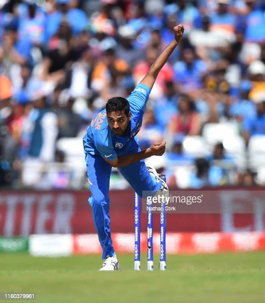 Bhuvneshwar Kumar of India runs into bowl during the Group Stage match of the ICC Cricket World Cup 2019 between Sri Lanka and India at Headingley on...
