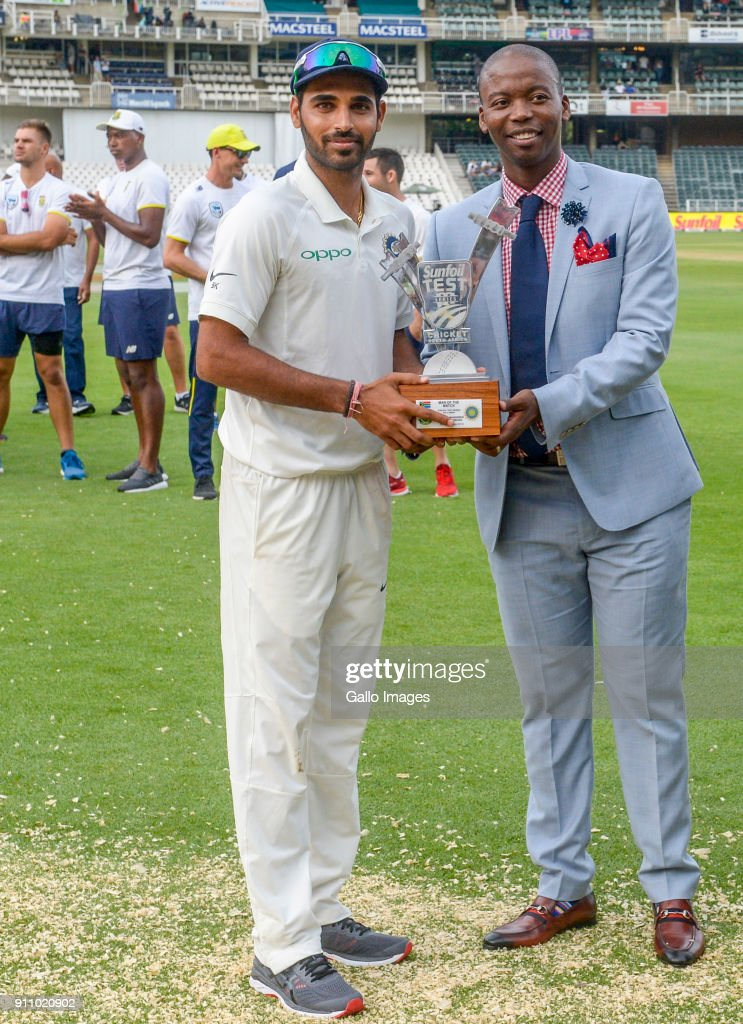 Bhuvneshwar Kumar receives his man of the match trophy during day 4 of the 3rd Sunfoil Test match between South Africa and India at Bidvest Wanderers Stadium on January 27, 2018 in Johannesburg, South Africa.