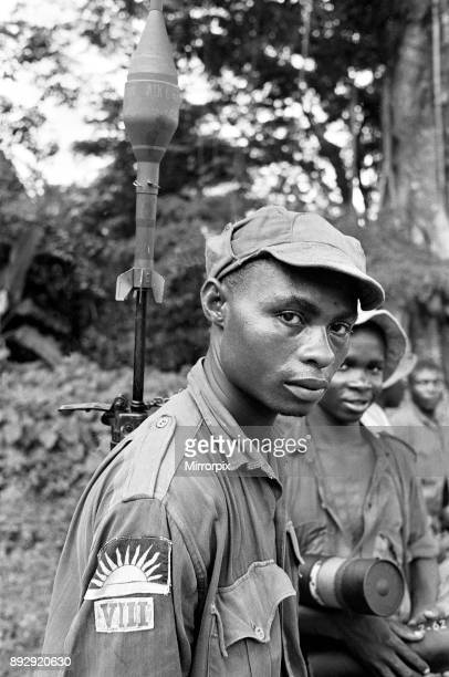 A Biafran soldier seen here during the conflict with rocket propelled grenade launcher attached to his back 11th June 1968
