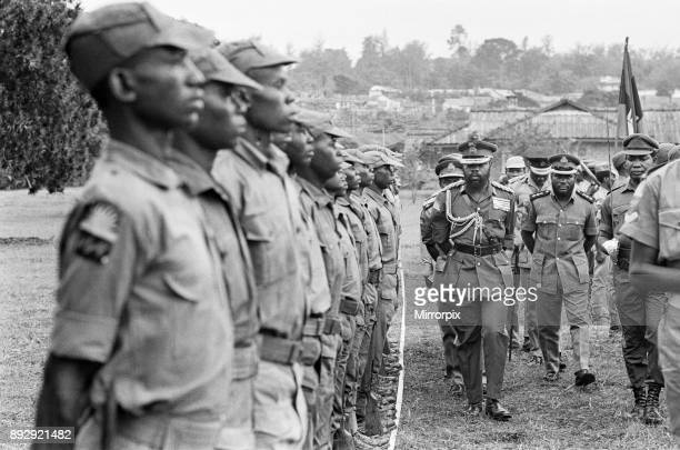 Biafran soldiers line up for inspection by Colonel Odumegwu Ojukwu the Military Governor of Biafra in Nigeria 11th June 1968
