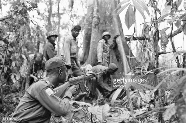 Biafran soldiers seen here advancing through the jungle towards the Nigerian army 11th June 1968