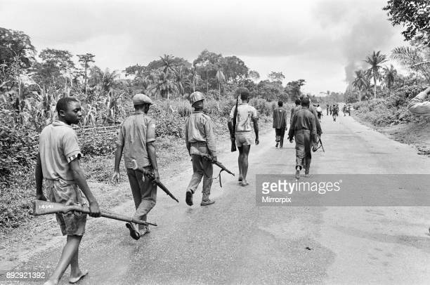 Biafran soldiers seen here advancing towards the Nigerian army during the Biafran conflict 11th June 1968
