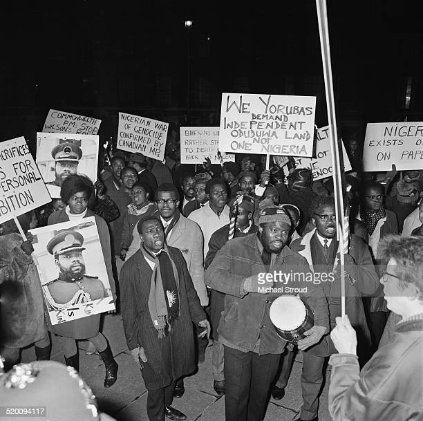 Biafrans demonstrate outside Nigeria House against United Kingdom's support for Nigeria during the Biafran War London January 1969