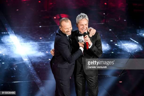 Biagio Antonacci and Claudio Baglioni attend the second night of the 68. Sanremo Music Festival on February 7, 2018 in Sanremo, Italy.