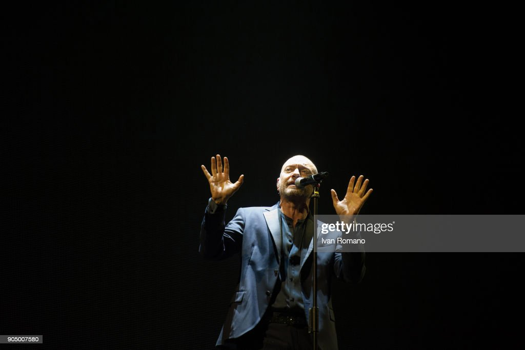 Biagio Antonacci performs on stage at Palasele for 'Dediche e Manie' Tour on January 13, 2018 in Eboli, Italy.
