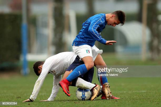 Biagio Morrone of Italy Under18 in action against Nicola Rauti of Italy during the at Coverciano 'Torneo Dei Gironi' Italian Football Federation U18...