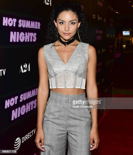 Bianca A Santos arrives at the screening of A24's 'Hot Summer Nights' at Pacific Theatres at The Grove on July 11 2018 in Los Angeles California