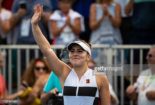 Bianca Adreescu of Canada celebrates after beating IrinaCamelia Begu of Romania in the second round of the women's singles at the Miami Open on March...