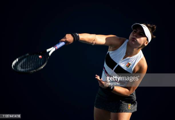 Bianca Adreescu of Canada serves against IrinaCamelia Begu of Romania in the second round of the women's singles at the Miami Open on March 21 2019...