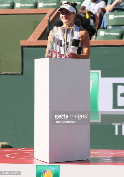 Bianca Andreescu holds up the championship trophy after winning the BNP Paribas Open on March 17 at the Indian Wells Tennis Gardens in Indian Wells CA