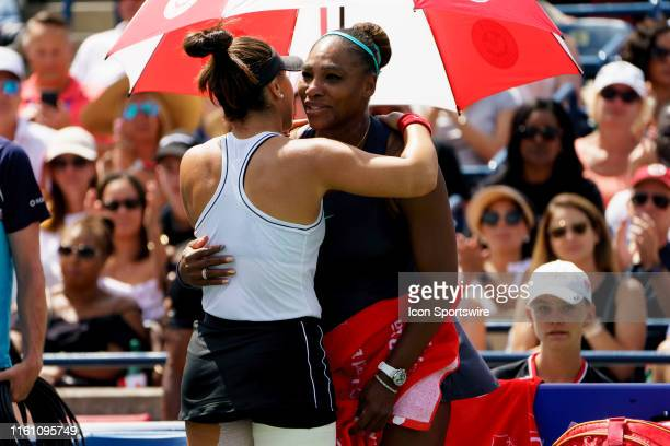 Bianca Andreescu hugs Serena Williams during the Rogers Cup tennis tournament final on August 11 at Aviva Centre in Toronto ON Canada