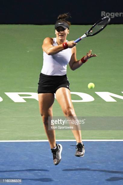 Bianca Andreescu in action against Eugenie Bouchard during the WTA Rogers Cup match on August 6 2019 at Aviva Centre in Toronto ON