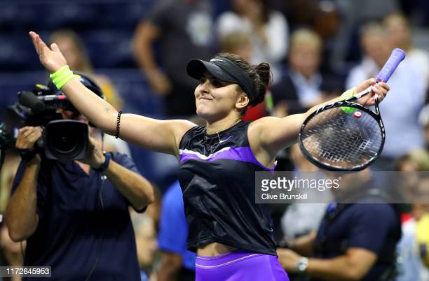 Bianca Andreescu of Canada after winning her Women's Singles semifinal match against Belinda Bencic of Switzerland on day eleven of the 2019 US Open...