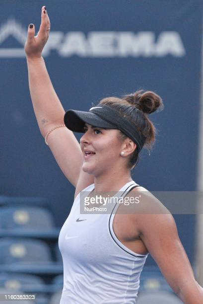 Bianca Andreescu of Canada celebrates after defeating Eugenie Bouchard of Canada following a first round match on Day 4 of the Rogers Cup at Aviva...