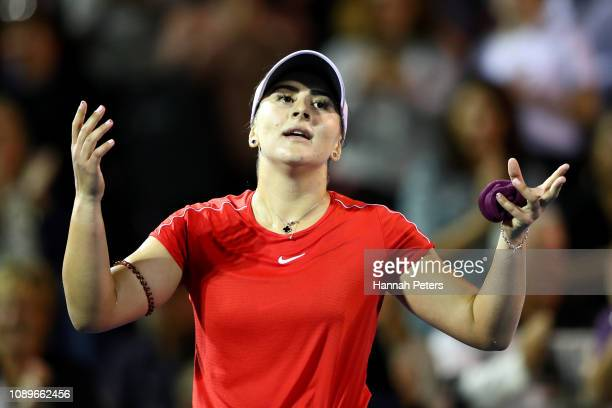 Bianca Andreescu of Canada celebrates after winning her quarter final match against Venus Williams of USA on January 04 2019 in Auckland New Zealand