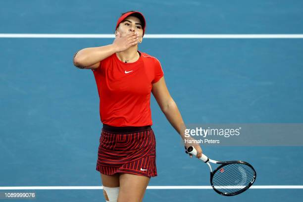 Bianca Andreescu of Canada celebrates after winning her semi final game against Su-wei Hsieh of China at the ASB Classic on January 05, 2019 in...