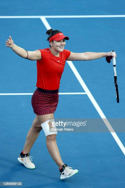 Bianca Andreescu of Canada celebrates after winning her semi final game against Suwei Hsieh of China at the ASB Classic on January 05 2019 in...