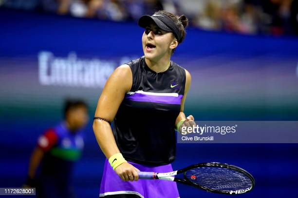 Bianca Andreescu of Canada celebrates after winning the first set during her Women's Singles semi-final match against Belinda Bencic of Switzerland...