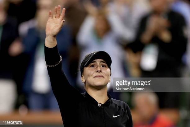 Bianca Andreescu of Canada celebrates her win over Elina Svitolina of Ukraine during the semifinals of the BNP Paribas Open at the Indian Wells...
