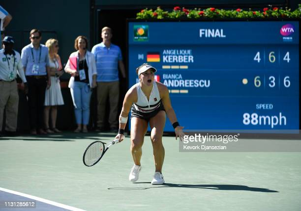 Bianca Andreescu of Canada celebrates her women's singles final victory against Angelique Kerber of Germany on day fourteen of the BNP Paribas Open...